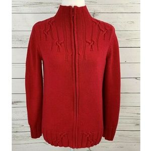 Coldwater Creek Sweater Zip Long Sleeve Solid Red